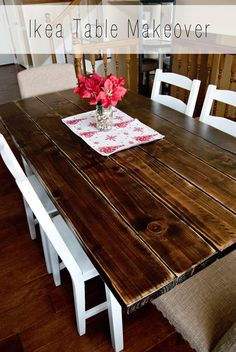 The Caldwell Couple: Ikea Dining Table Makeover - Before After DIY Ikea Dining Sets, Ikea Dining Room, Kitchen Dining Sets, Dining Table Chairs, Ikea Kitchen, Dining Table Makeover, Chair Makeover, Furniture Makeover, Ikea Makeover