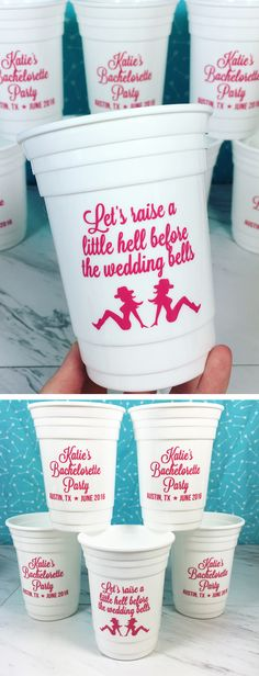 Bachelorette party favors for a Nashville bachelorette. Custom party cups for all the girls to use during the party and keep to remember the trip by. Lots of colors and options to choose from.