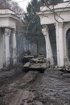 Assault of Grozny by the Russian tanks during the second Chechnyan War, February, 2000.