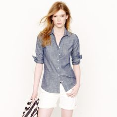 Perfect shirt in chambray polka dot