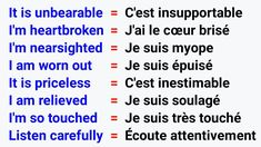 French Language Lessons, English Language Learning, French Lessons, English Lessons, Teaching English, Basic French Words, French Phrases, How To Speak French, Learn French