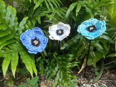 Ceramic Poppies Flowers for your Garden by FishNStuff on Etsy