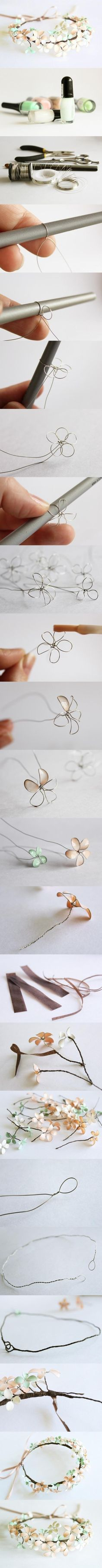 With thin wire and nail polish to do some pretty flowers
