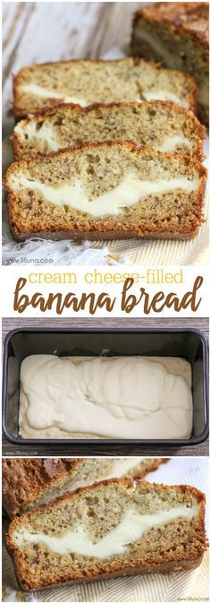Cheese filled Banana Bread - no yeast involved and SO delicious! Oh yeah, and it's topped with cinnamon and sugar!Cream Cheese filled Banana Bread - no yeast involved and SO delicious! Oh yeah, and it's topped with cinnamon and sugar! Cream Cheese Filled Banana Bread Recipe, Banana Bread Recipes, Banana Bread Sour Cream, Banana Bread With 2 Bananas, Baking With Bananas, Bisquick Banana Bread, Recipes With Bananas, Desserts With Cream Cheese, Banan Bread