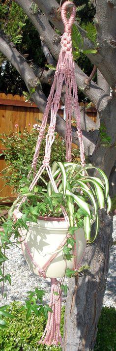 Macrame Plant Hanger  Crown Jewel DustyRose by LillysTreasureChest, $15.00