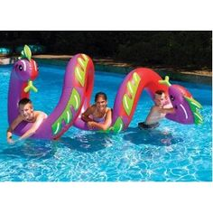 Swimline Water Sports Inflatable Two Headed Curly Serpent Swimming Pool Float Toy - Purple/Green Pool Toys For Kids, Kid Pool, Pool Fun, Kids Toys, Inflatable Pool Toys, Inflatable Float, Giant Inflatable, Swimming Pool Games, Indoor Swimming