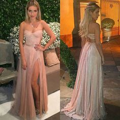 Sexy Backless Prom Dress, Long Tulle Prom Dress, Evening Party Dress, Slit Prom Dres, Vestido de Festa, Verão 2017 Para Madrinha De Formanda