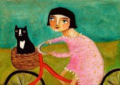 Bike bicycle ride to vet office tuxedo black cat in basket PRINT of painting by tascha. $15.00, via Etsy.