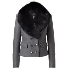 BURBERRY Averham Mid Grey MéLange Jacket With Detachable Fur Collar