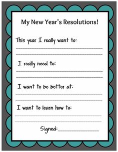 Kid Friendly New Year's Resolution Printable