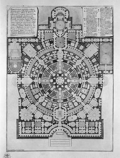 Plan broad, magnificent ancient College Gyms formed over the idea of `the Greeks, and Thermal de` Romani - Giovanni Battista Piranesi
