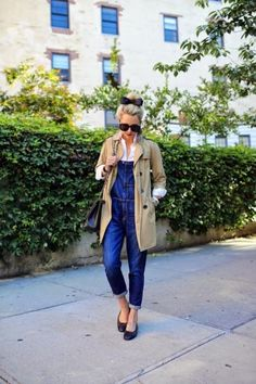 With her Chanel flats, black bow, and red lipstick, Blair of Atlantic-Pacific proves that overalls work for even the girliest of personalities. #Style #Overalls