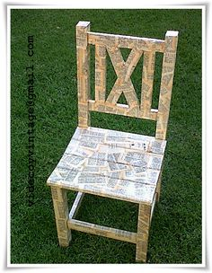 chair decoupaged with and old dictionary
