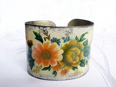 fauve+bouquet++vintage+tin+bracelet+by+littleblackrabbit+on+Etsy,+$40.00
