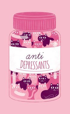 A bottle of pink and purple cats for anti depressants - pink aesthetic. Clever and creative illustration / design Cute Kittens, Cats And Kittens, Kitty Cats, Crazy Cat Lady, Crazy Cats, Gatos Cats, Illustration Art, Illustrations, Creative Illustration