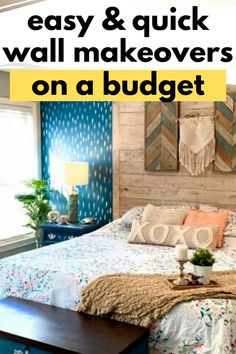 Make a statement with our favorite DIY accent wall upgrades. With some paint and stencils, or wainscoting, these cheap ideas on a budget for an accent wall for your bedroom or living room. See our favorite unique accent wall transformations of 2020. #diy #accentwall #budget Diy Wall Decor, Bedroom Decor, Diy Decoration, Home Decor, Law Office Decor, Stairway Walls, Funky Wallpaper, Stone Accent Walls, Shabby Chic Painting