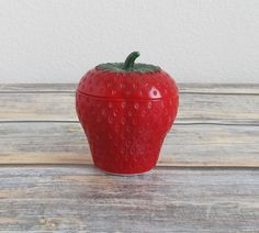 New to VintageLandia on Etsy: Vintage Milk Glass   Hazel Atlas Glass Strawberry Jam Pot   Depression Glass Sugar Bowl   Small Jam Jars (9.99 USD)