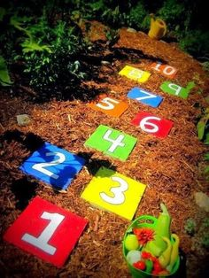 Play hopscotch in the garden - DIY Backyard Ideas Your Whole Family will Love - Photos