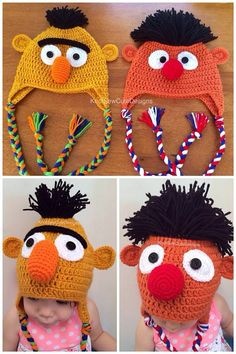 Bert and Ernie inspired Photo Prop Hats by KnotSewCuteDesigns
