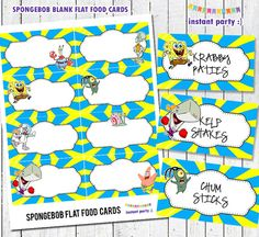 Spongebob Food Cards/Labels - Blue & Yellow - Instant Download File