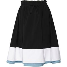 Tomas Maier Color-block cotton-poplin skirt (€475) ❤ liked on Polyvore featuring skirts, black, pull on skirt, colorblock skirt, tomas maier and color block skirt