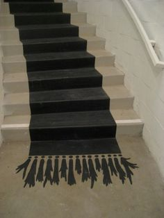 Stair Risers Ideas Painting   Painted carpet.