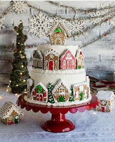 Tiered Gingerbread House Cake