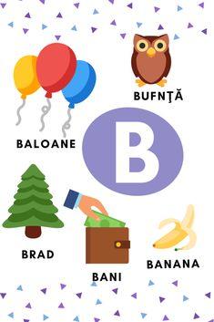Planșe cu literele alfabetului – GOGU Learning The Alphabet, Baby Education, Educational Activities, 4 Kids, Yoshi, Banana, Letters, School, Fun