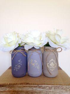 Set of 3 Jars, Painted Glass Jars, Flower Vases, Rustic Wedding Centrepieces, Mauve Tones & Tan