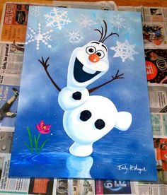 On order hand painted Disney Frozen Olaf on canvas. Description of et . - Painting Ideas On Canvas Frozen Painting, Painting For Kids, Painting & Drawing, Olaf Drawing, Diy Painting, Disney Canvas Paintings, Christmas Paintings On Canvas, Painting Canvas, Disney Canvas Art
