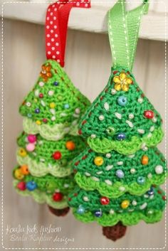 Crochet Christmas tree ornaments.