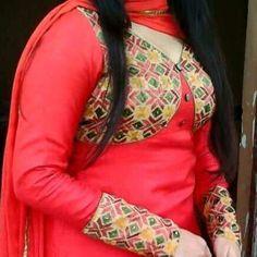 Red Plain Raw Silk Full Patiala Punjabi Salawar Kameez with Phulkari Jacket kotti at zikimo 1 Patiala, Salwar Kameez, Phulkari Suit, Boutique Suits, Beautiful Suit, Punjabi Suits, Indian Bridal, Indian Dresses, Silk