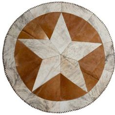 Natural Star Stitch Round Cowhide Rugs, 3.5', Multicolor