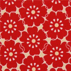 cream Riley Blake flower fabric from the USA red petals
