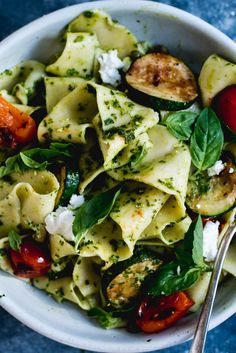 Homemade Pappardelle with Pesto, Zucchini & Goat's Cheese