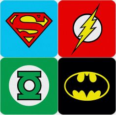 DC Comics Super Hero Logo Coasters BATMAN THE FLASH SUPERMAN GREEN LANTERN