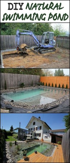 DIY Natural Swimming Pond Build How to make a natural pool. This Pool Requires Minimal Maintenance And Offers Maximum Visual Appeal Diy Swimming Pool, Natural Swimming Ponds, Natural Pond, Diy Water Feature, Diy Pond, Backyard Pool Landscaping, Landscaping Ideas, Dream Pools, In Ground Pools