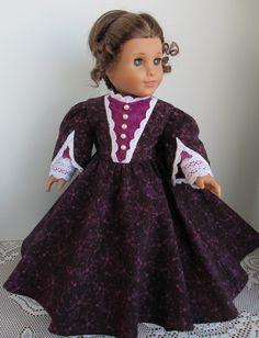 1850s Plum Victorian Dress Cape and Bonnet by karenstinytreasures