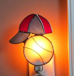 Baseball and Hat Stained Glass Night Light  by StainedGlassJewels, $23.95