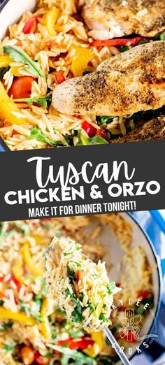 A fresh, summery dish – perfect for a delicious lunch or light dinner, this Tuscan Chicken Orzo is full of fresh flavors, easy to make on the fly, and even easier to make ahead. Easy Pasta Recipes, Top Recipes, Easy Chicken Recipes, Turkey Recipes, Easy Dinner Recipes, Real Food Recipes, Healthy Recipes, Dinner Ideas, Chicken Orzo