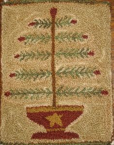 feather tree hooked rug