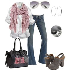 love the clogs and bag with jeans basic white shirt