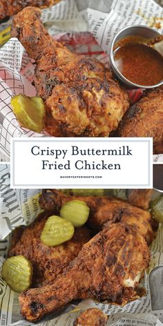 The best Buttermilk Fried Chicken recipe! Brined chicken with fresh herbs, buttermilk and seasonings makes for a crispy, flavorful southern fried chicken! Buttermilk Chicken Marinade, Fried Chicken Marinade, Southern Buttermilk Fried Chicken, Best Fried Chicken Recipe, Good Fried Chicken, Making Fried Chicken, Chicken Menu, Cooked Chicken Recipes, Buttermilk Recipes