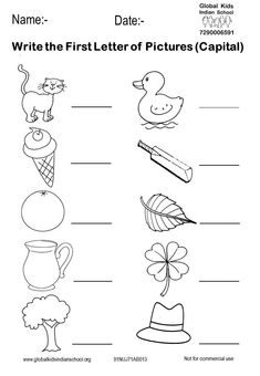 montessori An activity sheet of writing the first letter of the pic. Beginning Sounds Worksheets, English Worksheets For Kindergarten, Printable Preschool Worksheets, English Worksheets For Kids, Letter Worksheets, Phonics Worksheets, Worksheet For Nursery Class, Nursery Worksheets, Lkg Worksheets