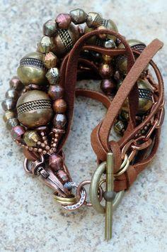 Copper, Brass, Chain and Leather Bohemian Statement Bracelet Rustic Copper, Brass and Leather Bracelet I Love Jewelry, Boho Jewelry, Jewelry Crafts, Beaded Jewelry, Jewelery, Jewelry Bracelets, Silver Jewelry, Handmade Jewelry, Jewelry Design