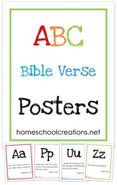Bible Verse Posters ~ Free Printables ABC Bible Verse wall posters - a verse for each letter of the alphabet. Prints 8 x in size.ABC Bible Verse wall posters - a verse for each letter of the alphabet. Prints 8 x in size. Bible Verses For Kids, Printable Bible Verses, Kids Bible, Toddler Bible, Bible Scriptures, Bible Resources, Bible Activities, Toddler Activities, Church Activities