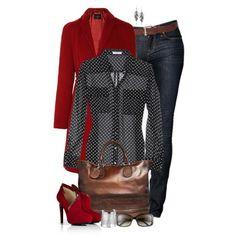 С чем носить красные ботильоны: джинсы