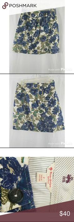 """BROOKS BROTHERS women's floral print skirt Women's BROOKS BROTHERS women's blue  floral print skirt lined with side zip   Measurements taken laying flat  Size :  2 Waist : 15"""" Length: 17""""  See photos for details. I try to be thorough and accurate with photos and details.   CONDITION:  Preowned. Used Condition. No holes, rips, or tears.  Thanks for shopping. New inventory added daily. Brooks Brothers Skirts Mini"""