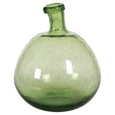 """Balloon glass bottle with seeded detail.   Product: BottleConstruction Material: GlassColor: Lime greenDimensions: 14"""" H x 12"""" Diameter"""