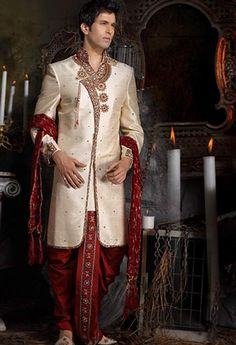 Cream Pure Silk Angrakha Style Sherwani with Dhoti Online Shopping: MCD339